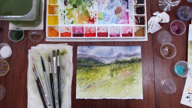 Mountain landscape on watercolor paper.