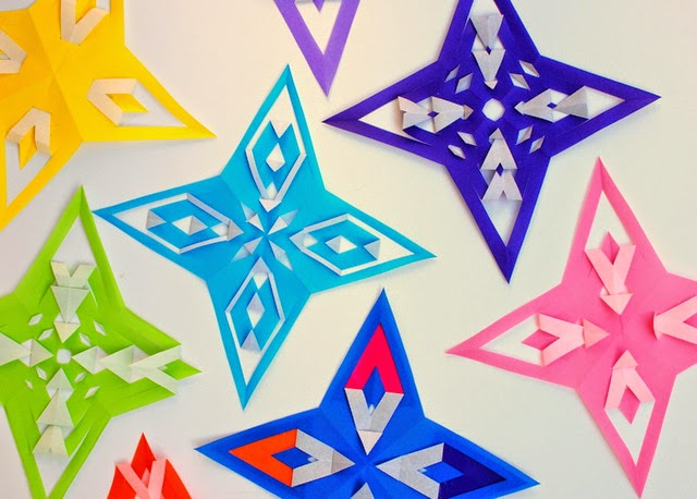 how to fold and cut origami stars with kids! (video instructions included)