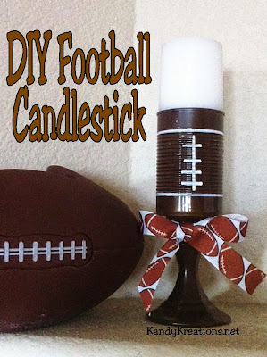 Make quick and Easy football candlesticks that add a pop of WOW! to your football party. #footballparty #candlestick #diy #diypartymomblog