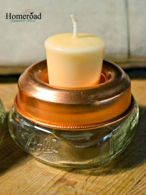 Small mason mar with tea light candle