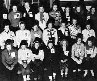 A black and white photograph of the 1939 winter carnival court.
