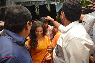 Actress Nithya Menen Pictures in Silk Saree at Kalamandir 25th Store Launch  0010