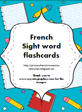 sight word flashcards primary french immersion resources. Black Bedroom Furniture Sets. Home Design Ideas