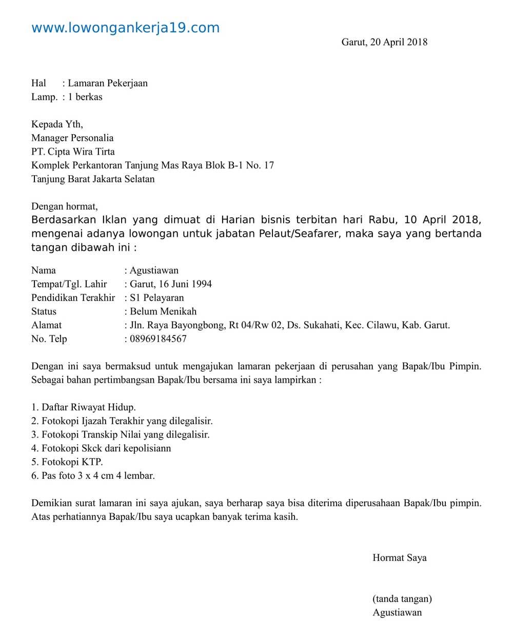 Contoh Surat Lamaran Kerja Pelaut Bahasa Indonesia