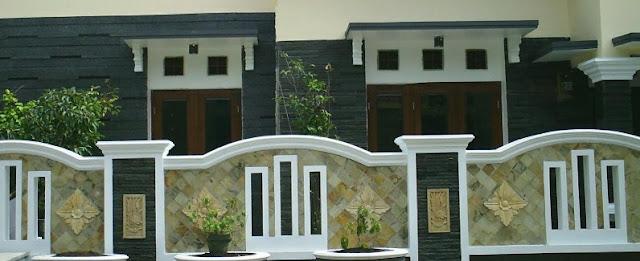 gambar pagar batu alam rumah mewah