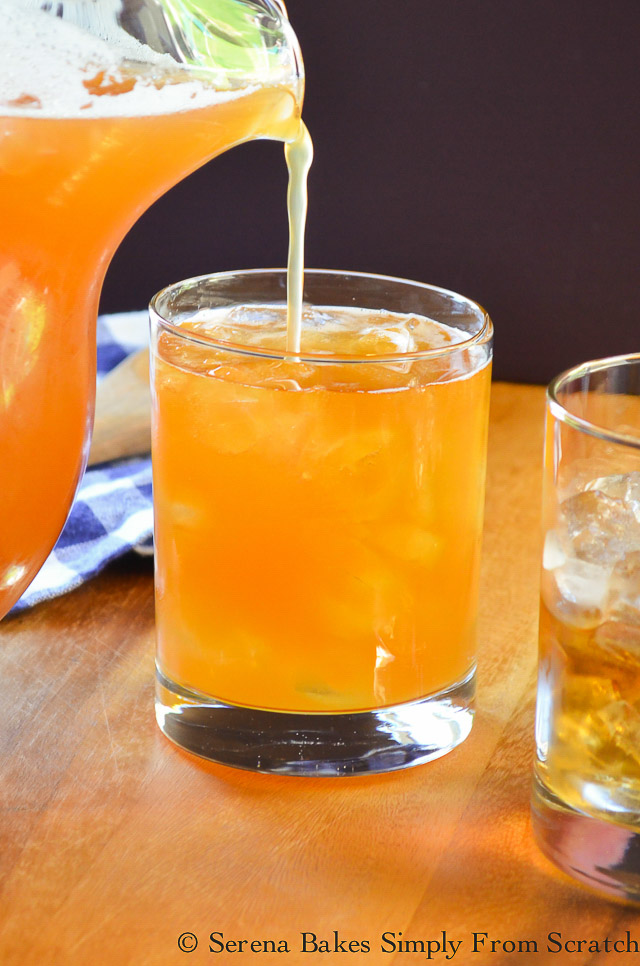 Fill glasses with Peach Whiskey Iced Tea.