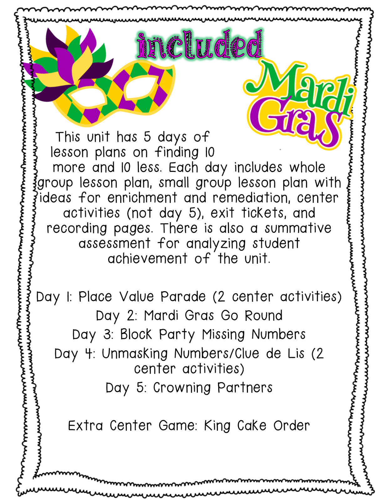 Pride And Primary Mardi Gras Madness Math Mini