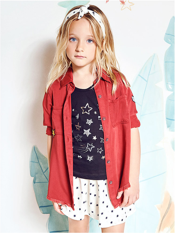 Tendencias de moda infantil primavera verano 2018. Moda camisas de nenas verano 2018. Moda 2018.