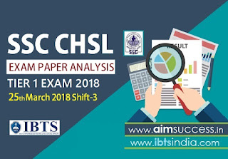 SSC CHSL Tier-I Exam Analysis 25th March 2018: Shift - 3