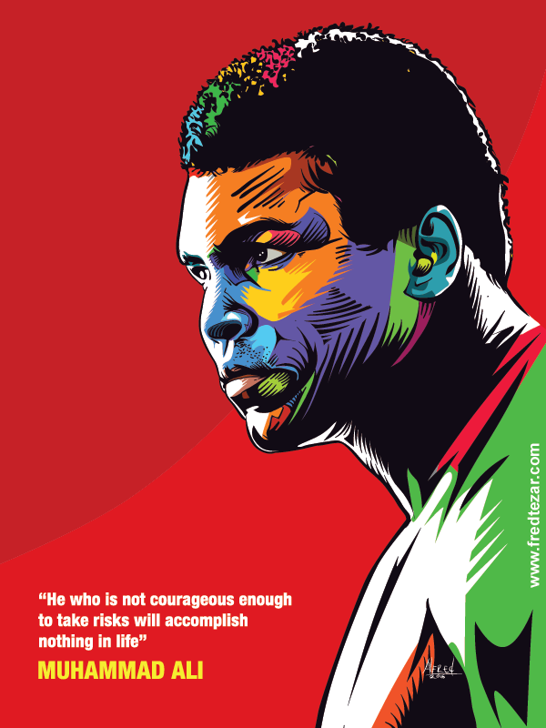vector detail pop art petinju legendaris dunia muhammad ali