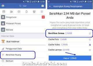 menghapus cache aplikasi FB Lite
