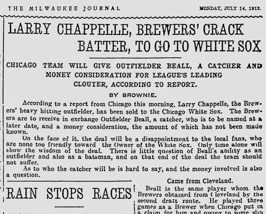 0536394925c6a On This Day in 1913 - Larry Chappelle sold to the Sox