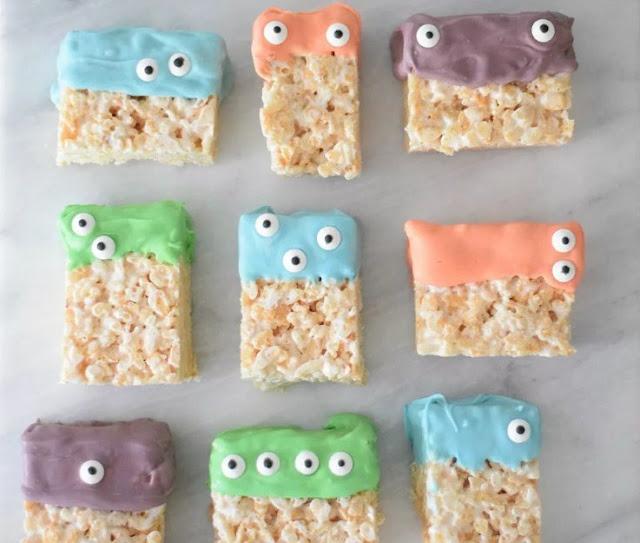 Creepy Monster Rice Krispie Treats For Halloween Party