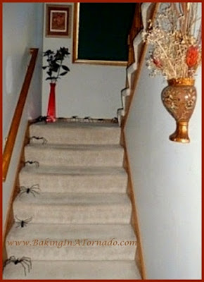 Stair Spiders | www.BakingInATornado.com | #Halloween #decorations