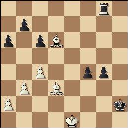 Partida de ajedrez Franco vs. Lladó, Campeonato de España de 1956, posición después de 42…Rxh2!