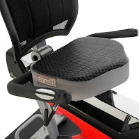 Ironman Triathlon X-Class 410's seat, with Air Soft technology and adjustable backrest