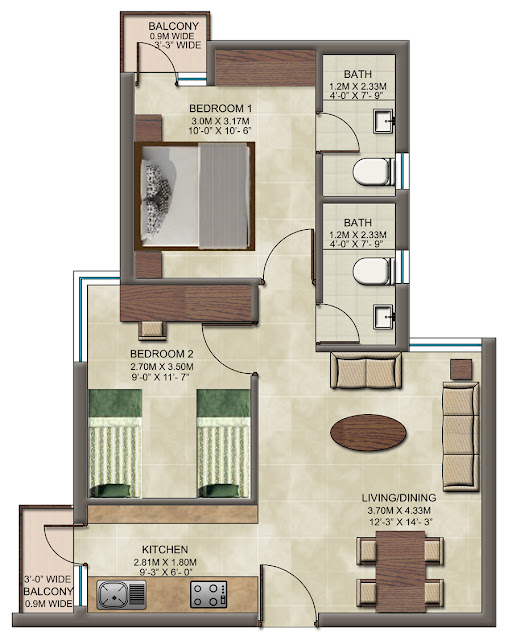 2-BHK-floor-plan-in-Dream-Home-Wave-City-NH24