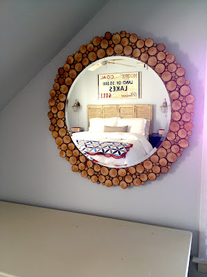 diy wood slice circular mirror