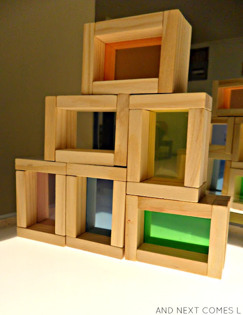 Tutorial for making DIY color blocks for light table play from And Next Comes L