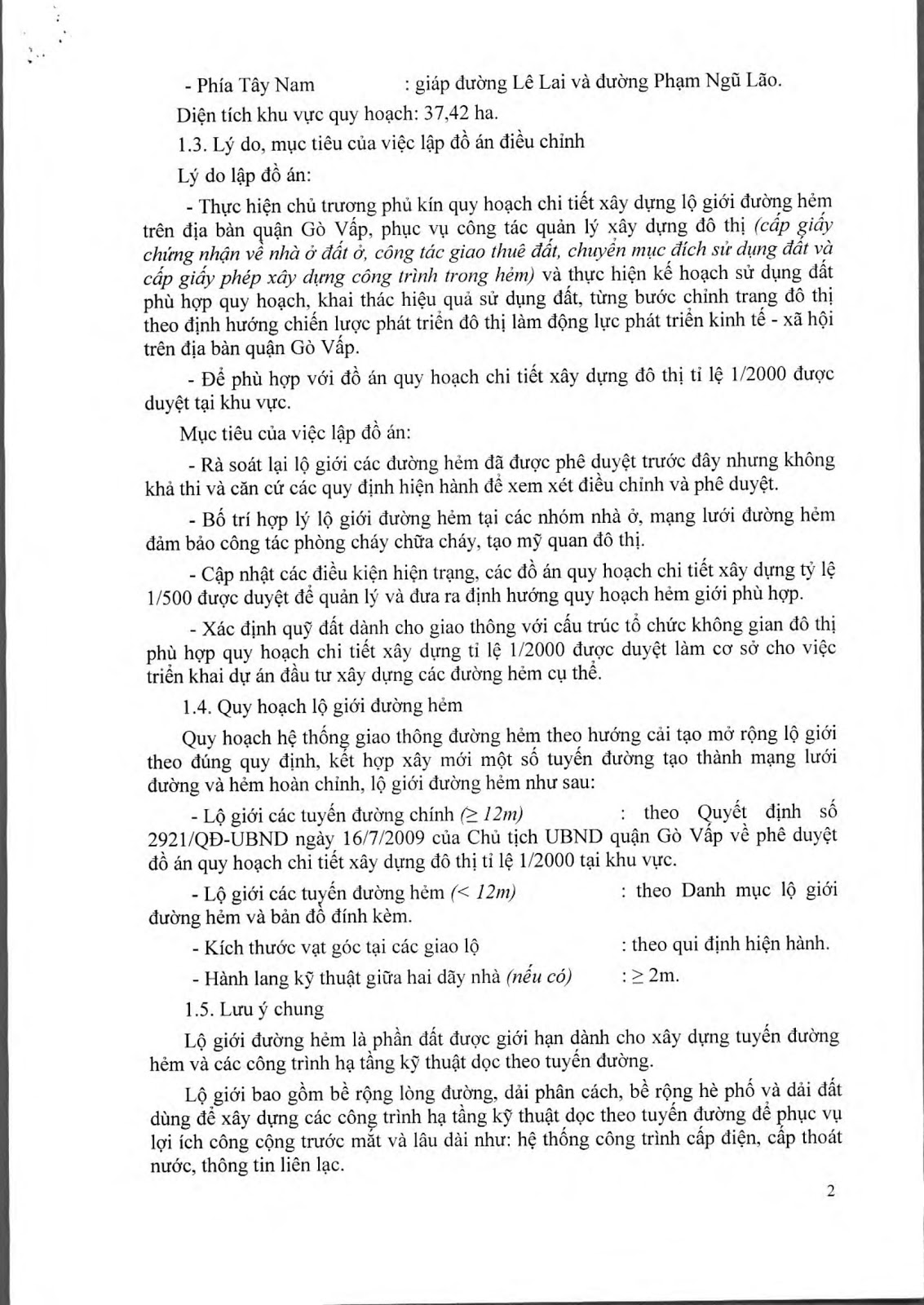 Quyết Định Số 5774/QĐ-UBND Đề Án Lộ Giới Đường Hẻm Tỉ Lệ 1/500 Phường 4 Quận Gò Vấp Tờ 2