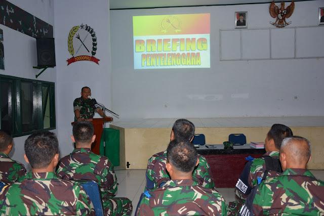 Kasrem 141/Tp dan Dandim 1415/Selayar Briefing Penyelenggara Latihan Posko I Yon 726/Tml