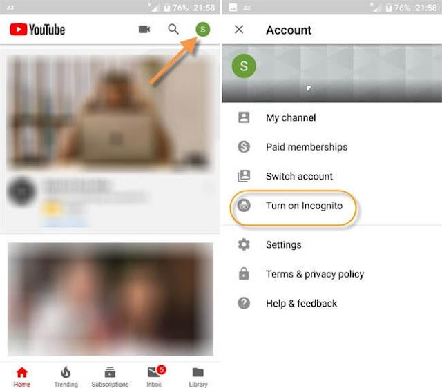 تصفح اليوتيوب بشكل خفي ( تفعيل التصفح الخفي في تطبيق اليوتيوب علي الاندرويد ) | Youtube on Incognito
