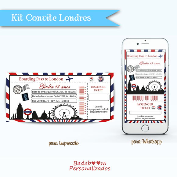 Kit de artes digitais para convite Passagem Aérea Londres