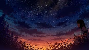 Anime, Girl, Night, Sky, Scenery, 4K, #211