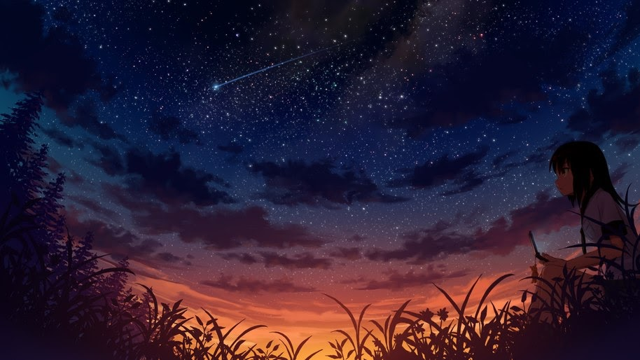 Anime, Girl, Night, Sky, Scenery, 4K, #211