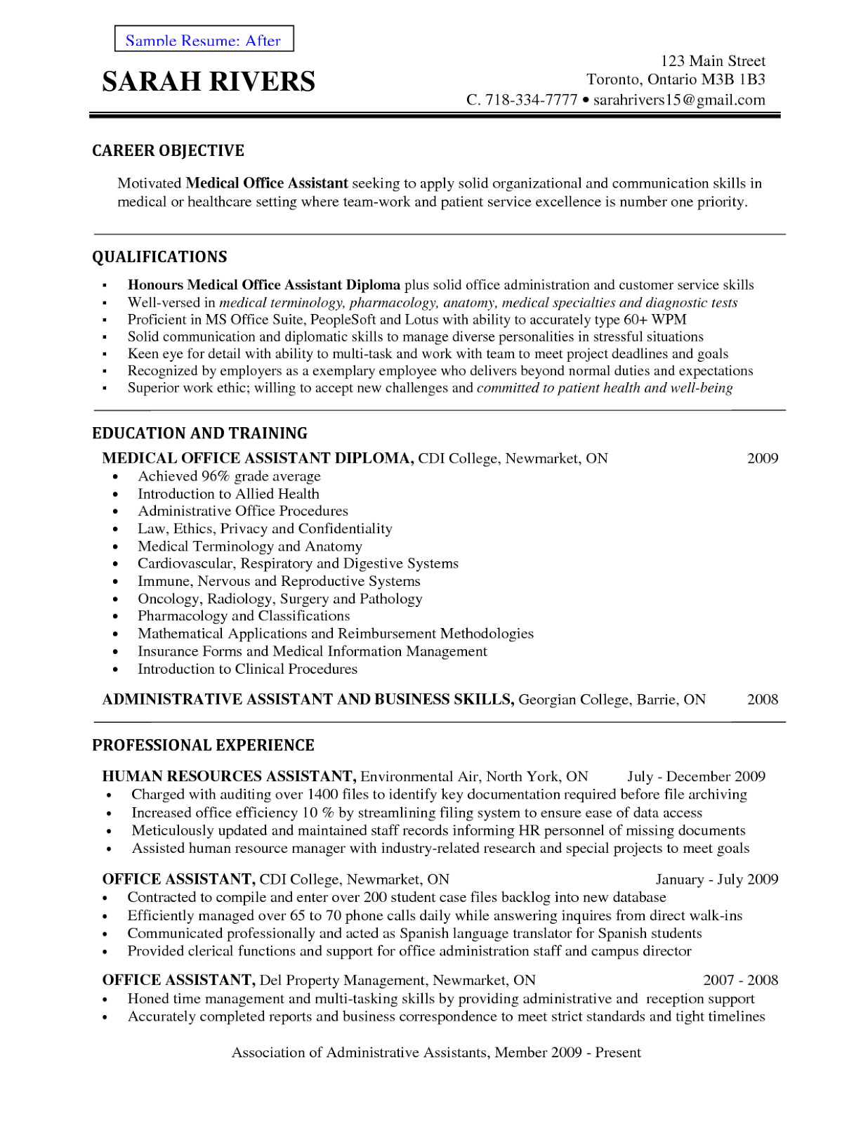 resume cover letter example - Professional Objective In Resume