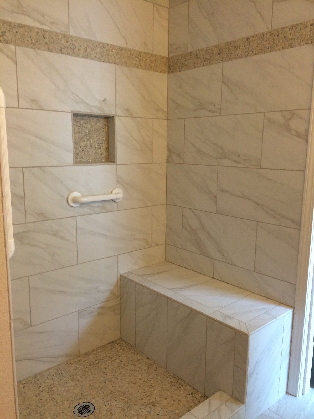 12x24 Tile Shower Custom Shower W Grab Bars Giant Don S Flooring America