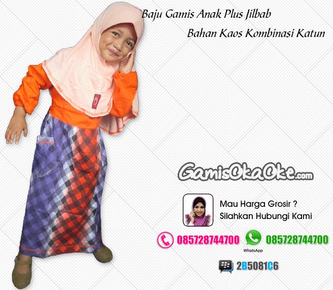 Baju gamis anak perempuan oka oke solo bahan kaos katun dilengkapi dengan hijab harga murah