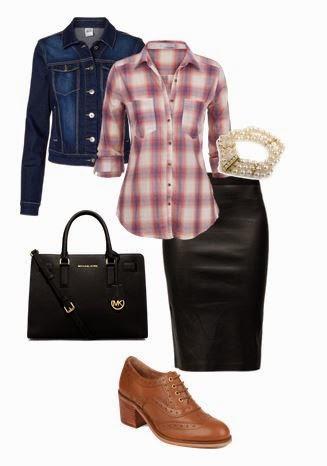 Saia pencil preta, camisa plaid, blusão de ganga, sapatos rasos camel e mala mão preta