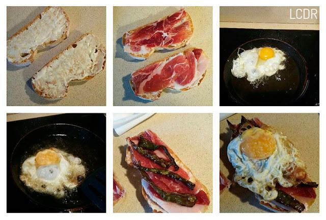 Receta de tosta de jamón, pimientos y huevo 02