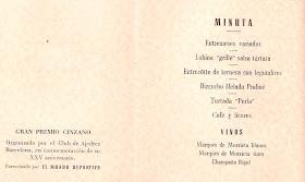 Menú del banquete de clausura del Torneo Internacional de Ajedrez Barcelona 1946