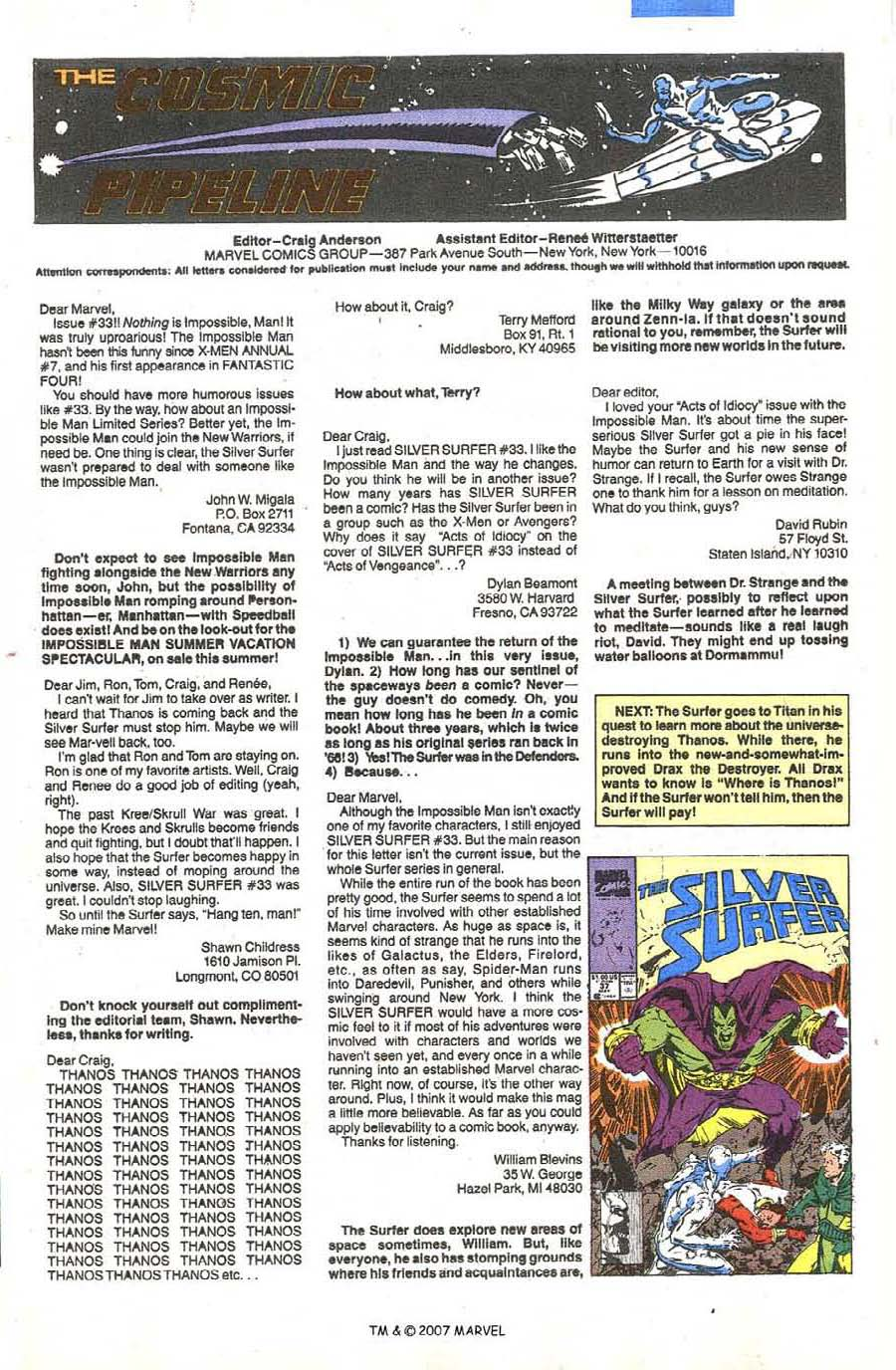 Read online Silver Surfer (1987) comic -  Issue #36 - 33
