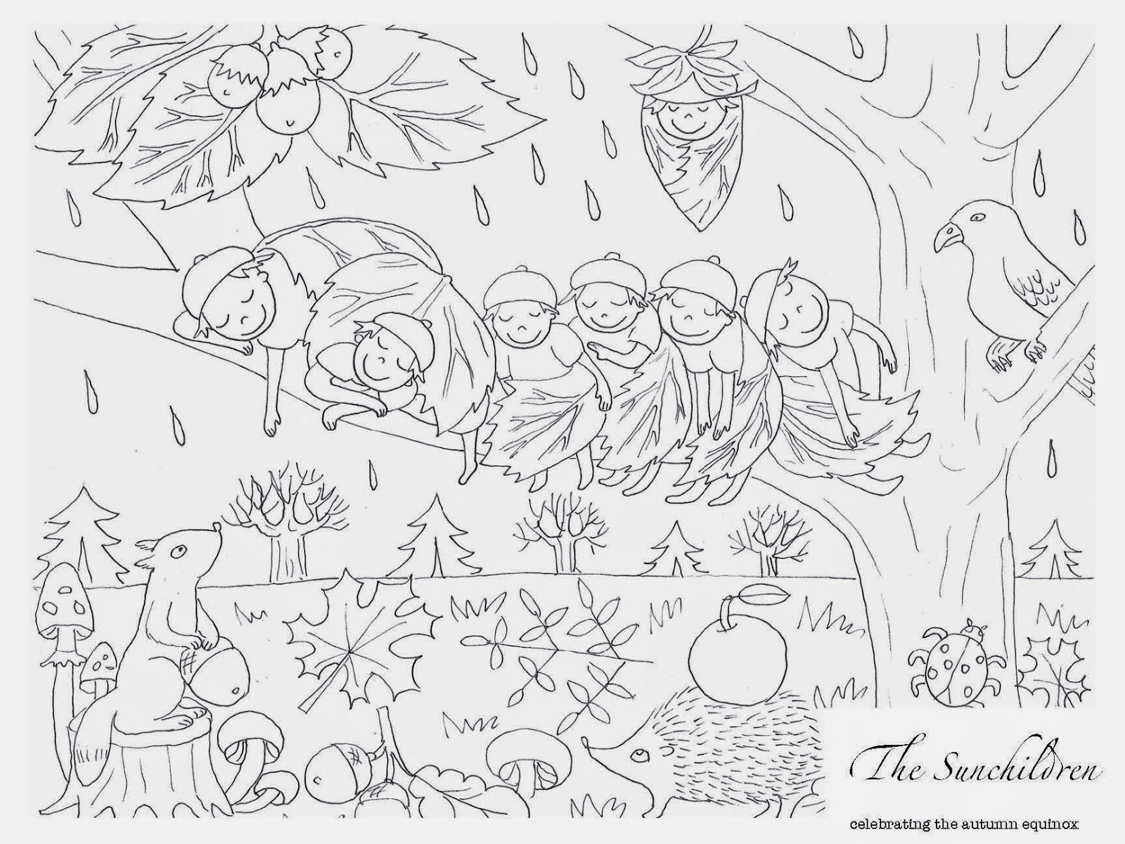 Autumn Equinox Coloring Page And Planning Sheet