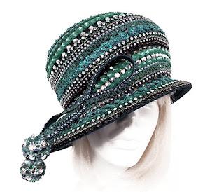 Bubble Cloche Rhinestone Tassle Beaded Couture Hat