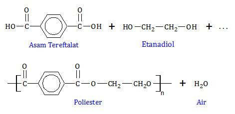 polimerisasi poliester , dakron , tetoron dari asam tereftalat dan etanadiol