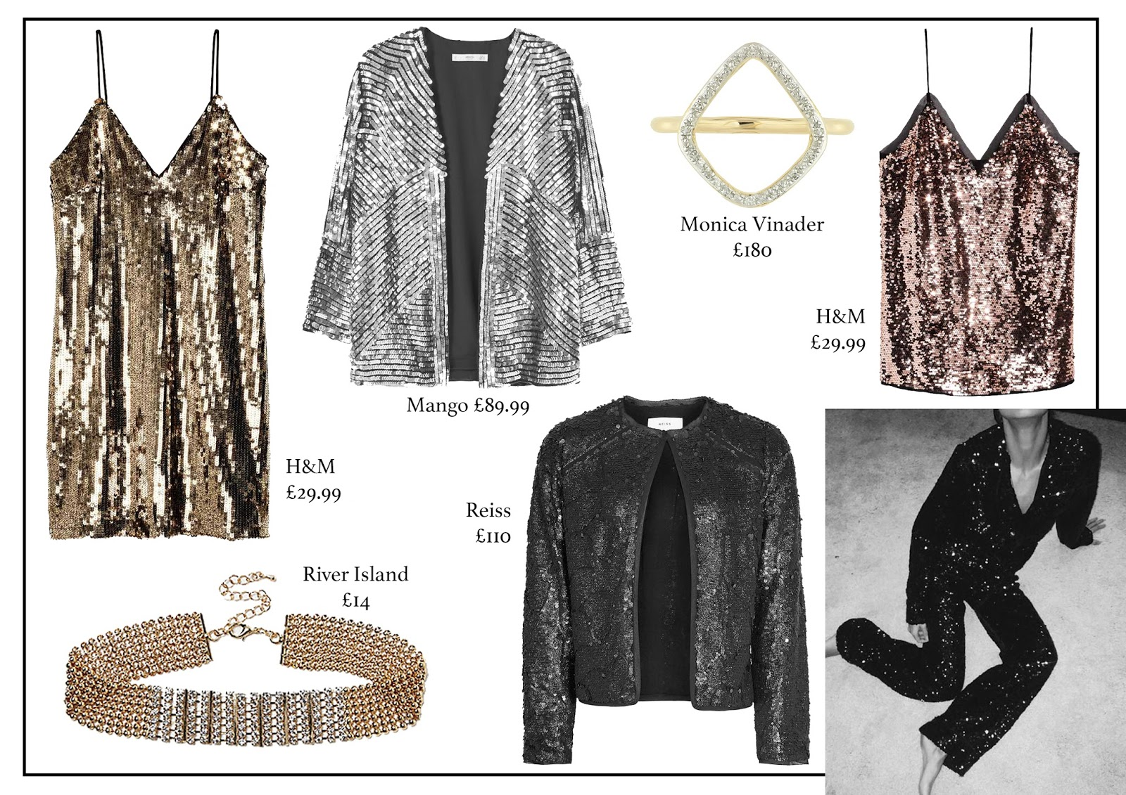 sparkle, January, h&m, mango, monica vinader, reiss, river island, fashion, fashion blog, aw16