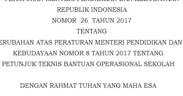 Juknis Bos Sesuai Permendikbud No 26 Tahun 2017