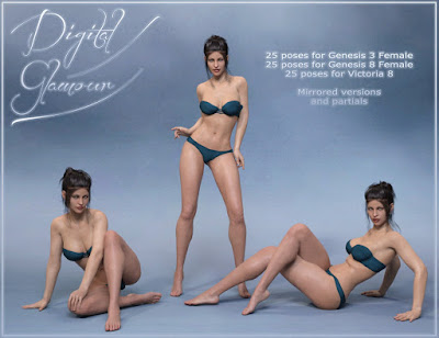 Digital Glamour Poses for Genesis 3 and Genesis 8 Female