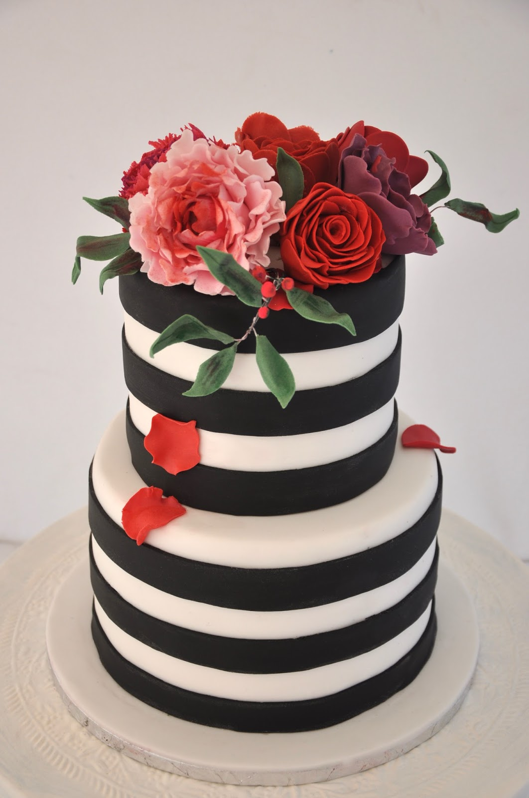 Rozannes cakes black and white stipes with a touch of colour black and white stipe cake with colourful handmade sugar flowers for a birthday party in durbanville cape town the top tier was red velvet cake and the dhlflorist Image collections