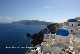 Panoramablick von Santorin Foto von Stampin' up! Demonstratorin Susanne McDonald Susis Basteltipps