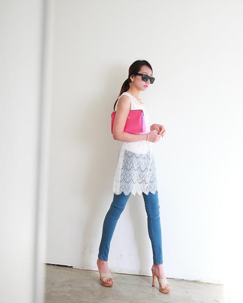 NanalShop Sleeveless Lace Top