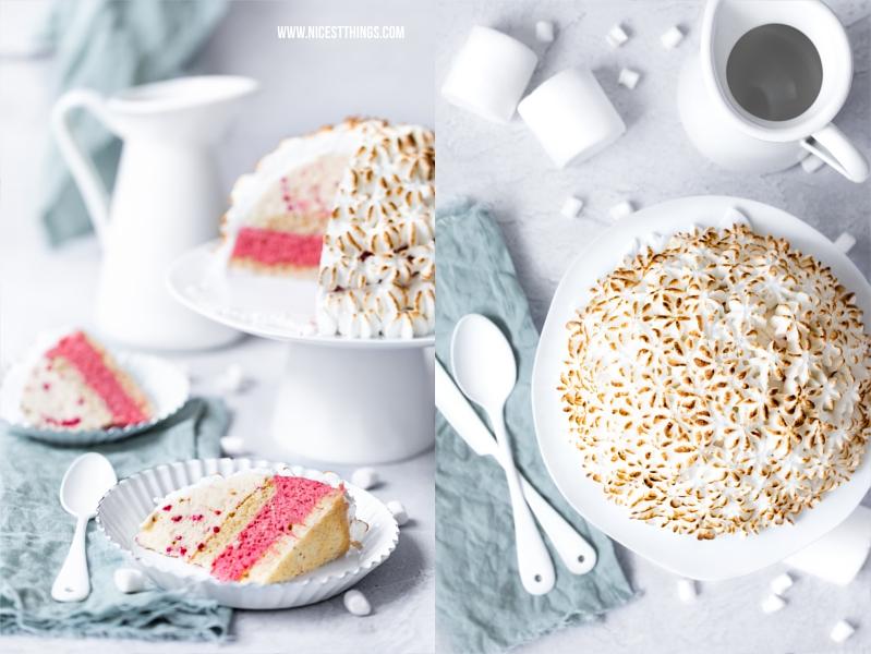 Baked Alaska mit Rhabarber Eis, Marshmallow Eis, Biskuit
