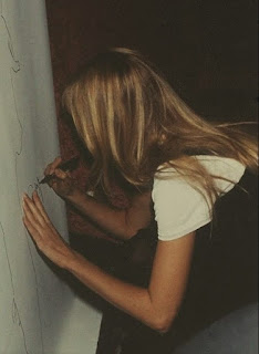 Claudia Schiffer signs her shadow (painting) 1993