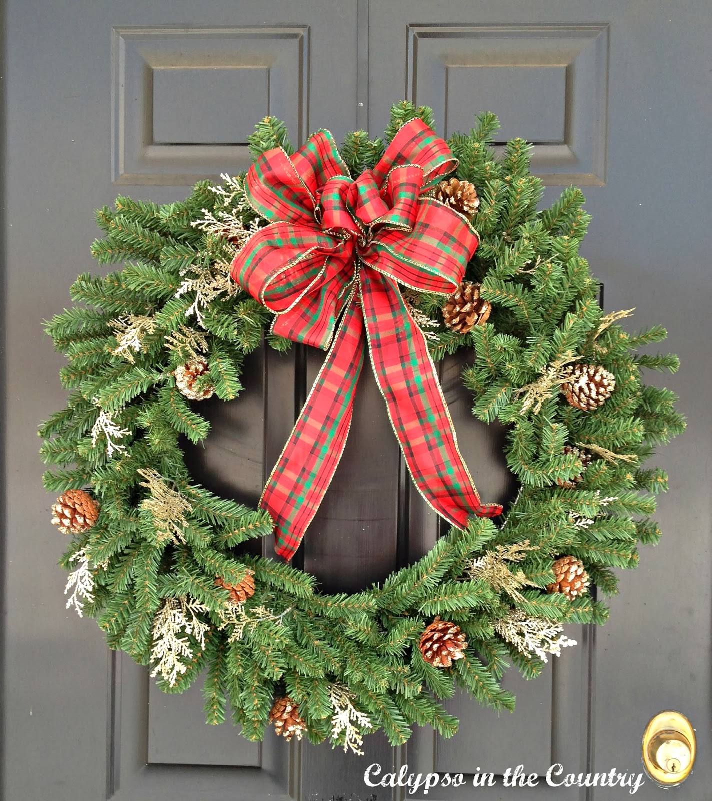 Wreath with Plaid Bow on Black Front Door