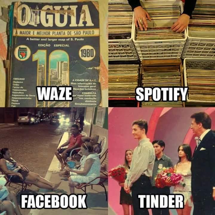 waze spotify facebook tinder antigamente