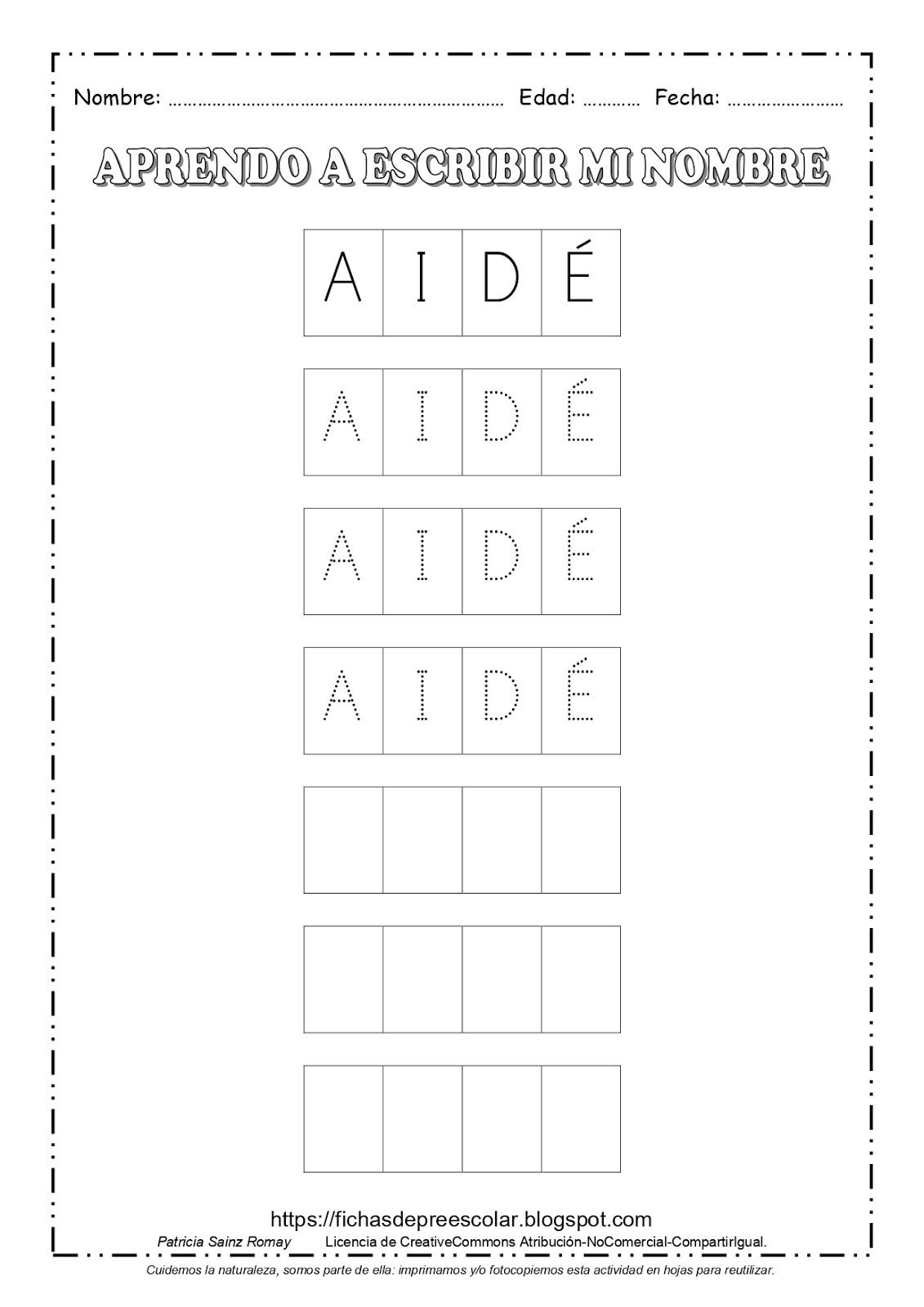Fichas De Educación Preescolar Aprendo A Escribir Mi Nombre 4 Letras